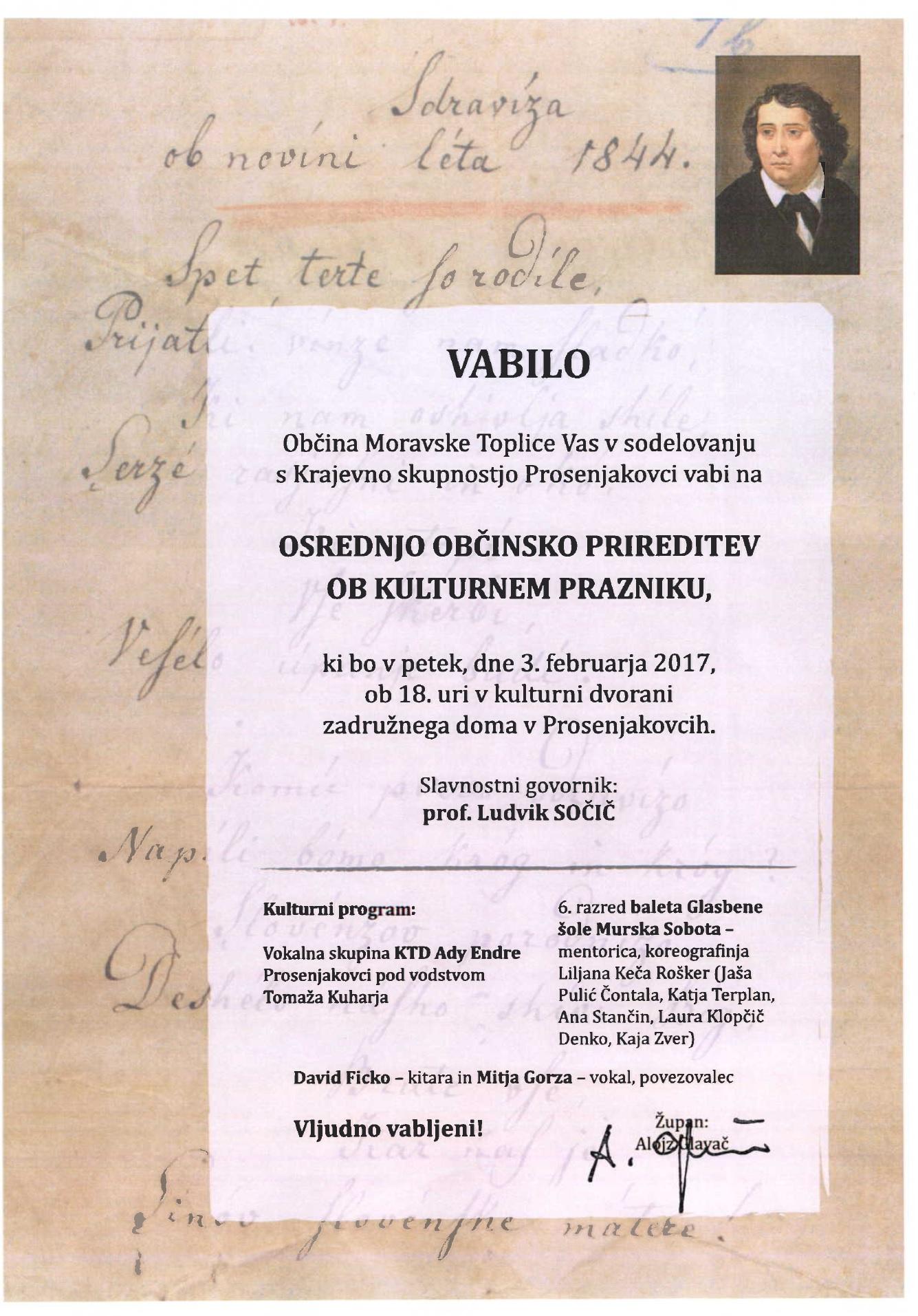 VABILO - KULTURNI PRAZNIK